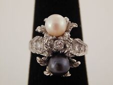 14k WG Art Deco Natural White South Sea & Tahitian PEARL Diamond Designer Ring