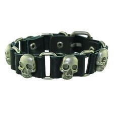 Punk Rock Cool Biker Men Genuine Leather Black Bangle Cuff Bracelet with Skulls