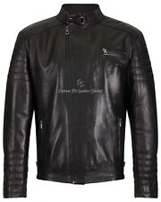 Chaqueta para hombre de cuero negro moda diseñador estilo de la motocicleta 100% Real Napa 105