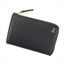 Lanvin Wallet Purse Coin Purse Black Silver leather Mens Authentic Used H625