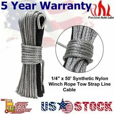 1/4''x50' Synthetic Winch Rope Line Grey Recovery Cable 8200 LBS 4WD W/Sheath