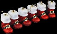 3 x Pairs Glitter Red Dazzling Santa Boots Christmas Tree Baubles  Decorations