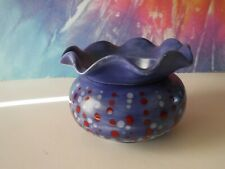 Small Flat Round/Ruffle Insert Blue Red White African Violet Ceramic Pot/Planter