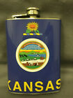 Kansas State Flag Flask 8oz Stainless Steel Drinking Clearance item