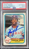Ferguson Jenkins auto signed card Fleer #622 1981 Texas Rangers PSA Encapsulated
