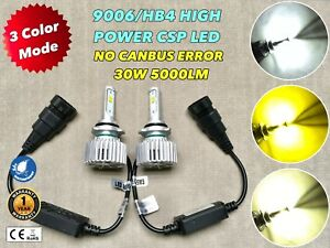 3 COLOR + STROBE FLASH HEADLIGHT LOW BEAMS 9006 HB4 42WX2 5000LM CSP LED W1 JAE