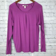 FOREVER 21 Womens Long Sleeve Knit Top Pleated Front Soft Stretchy Purple Sz M