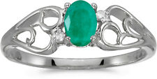 14k White Gold Oval Emerald And Diamond Ring (CM-RM2582XW-05)