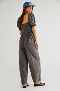Free People Nicola One Piece Short Sleeve Jumpsuit Washed Grey Size S