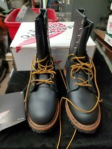 """Red Wing 699 Black Leather 10"""" NFPA High Vibram Logger Boots Mens New in Box E"""