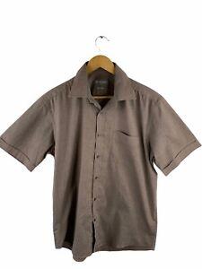 Jack Reid Men's Button Shirt Size 39 Brown Short Sleeve Collared Pocket Casual