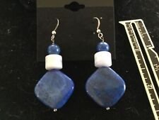Jay King Sterling Lapis and Blue Lace Earrings Dangle
