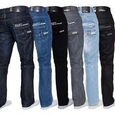 Mens Straight Leg Jeans Enzo Designer Regular Fit Denim Trousers Pants All Waist