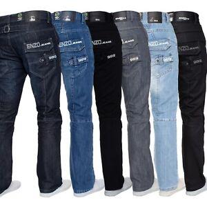 Hommes Jeans Jambe Droite Enzo Créateur Coupe Standard Pantalon Tout Taille