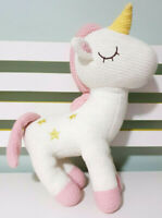 Kmart Crochet Style Unicorn Pink & White Plush Toy 33cm Tall!