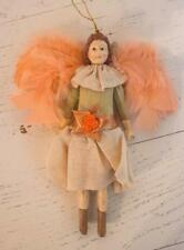 Vintage Victorian Angel Doll Plaster Painted Ornament Peach Beige Feather Wings
