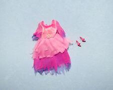 WHIMSICAL! Pink Purple Sheer Layered Genuine BARBIE Short Sleeve Dress w/ Heels