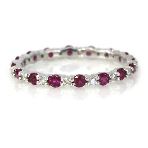 0.85 ctw Natural Red Ruby & Diamond Solid 14k White Gold Full Eternity Band Ring