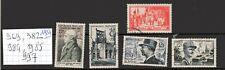 Lot timbres français n° 969, 982, 984, 985 et 997 , de 1954, oblitérés