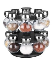 Home Basics NEW 16 Piece, 2 Tiered Revolving Glass Spice Rack - SR44072