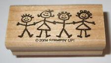 Boys Girls Children Rubber Stamp Stampin' Up! Kids Retired Wood Mounted Border