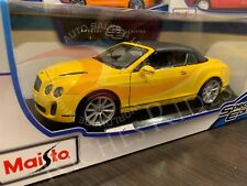 Maisto 1:18 Scale Diecast Model - Bentley Continental Supersports Conv (Yellow)