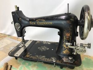 Antique Vtg Treadle Sewing Machine Art Deco Ornate Gold Improved New Companion