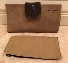 VESPA Vtg 60-70s Wallet Money Check Book Credit card Organizer Vegan Suede Italy