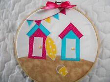 Sale * Cute Beach Hut Hoop Art *Hand Crafted* Home Decor