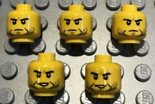 5 X NEW LEGO Heads Yellow Male Stubble Serious Double Sided Minifigures Lot 36