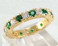 Green&White CZ Eternity Ring Wedding Band 10KT Yellow Gold Filled Jewelry Sz 5-9