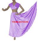 TMS Satin Skirt + Veil Set Belly Dance Costume Tribal Gypsy Club Dress  27 Color