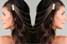 Clearance Bridal Gold Colour Long Chain Fringe Tassel Hair Comb Cuff Women Hair