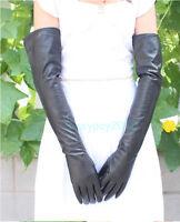 60cm Long Black Genuine Lampskin Leather Touch Screen Winter Gloves Opera Bridal