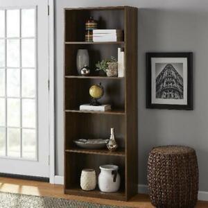 "71"" 5-Shelf Adjustable Wood Bookcase Storage Shelving Wide Bookshelf Furniture"