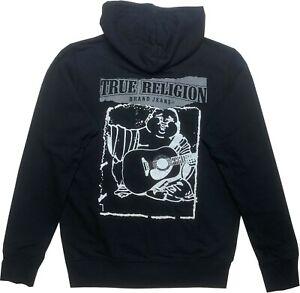 New Mens True Religion Classic LS Logo Zip Hoodie Black 102919 Sale Sale!!!!!