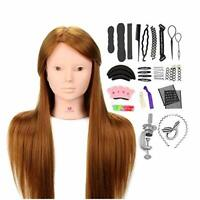 """Neverland Hairdressing Training Head 24"""" Brown 50% Real Human Hair Mannequin Dol"""