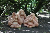 THREE WISE MONKEY STATUES No Hear,No See No Evil Stone Garden Ornament Decor