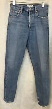 Agolde Feel GoodJeans Blue Tapered Leg Frayed Ankle High Rise Button Fly size 24