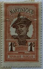 Martinique 1908 Scott 62 1c red brown and brown Martinique Woman Mint Hinged OG