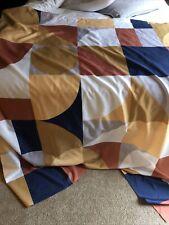 Fabric Orange Blue Grey Gold Rust White Geometric Shapes Artistic Shower Curtain