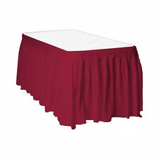 "2 Plastic Table Skirts 13' X 29"" Streches-19' - Burgundy"