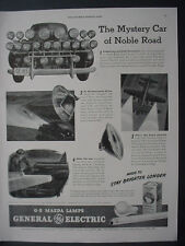 1943 GE Mazda Lamps Mystery Car Army War Planes Vintage Print Ad 11999