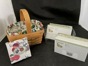 Longaberger Handle Basket 1997 Liner Protector Ceramic Tie On 200 Recipe Cards