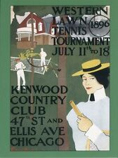 POST CARD OF VINTAGE POSTER FOR WESTERN LAWN TENNIS TOURNAMENT JULY 11-18, 1896