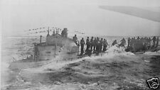 German Submarine Surrenders to US Navy World War 1, 7x4 inch Reprint  Photo a