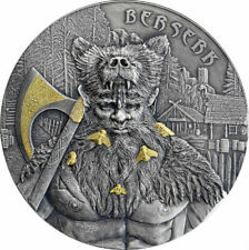 BERSERK GERMANIA MINT 2019 2 OZ PURE SILVER ANTIQUED COIN WITH SELECTIVE GOLD