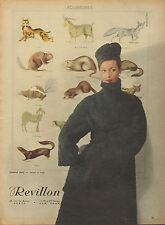 Publicité 1956  Fourrures REVILLON  manteau bonnet haute couture