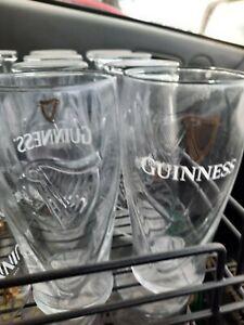 guinness irish stout glasses x 2 (pint glass 570ml ) gravity embossed harp