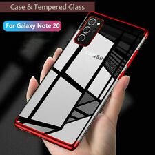 For Samsung Galaxy Note 20 Ultra Case Slim Plating Soft TPU Cover Tempered Glass
